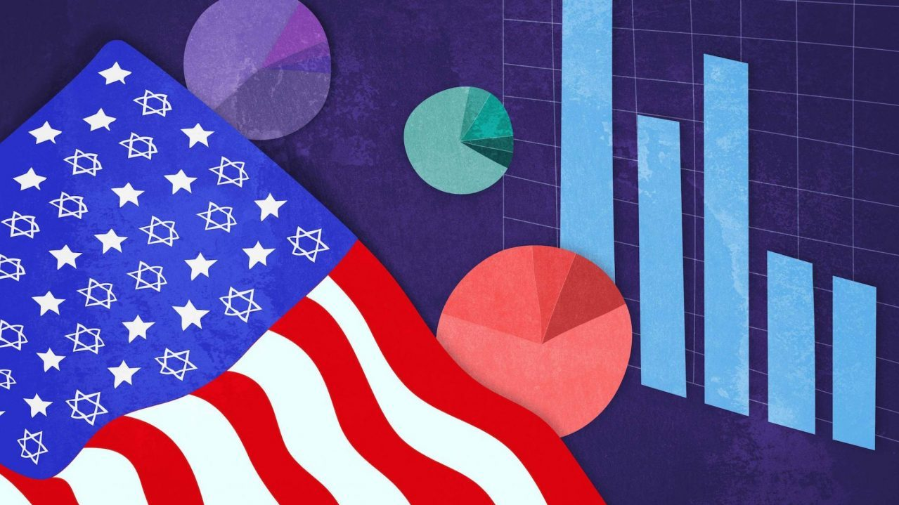 an abstract illustration of an american flag with six-pointed stars waving over a background of pie charts and bar graphs