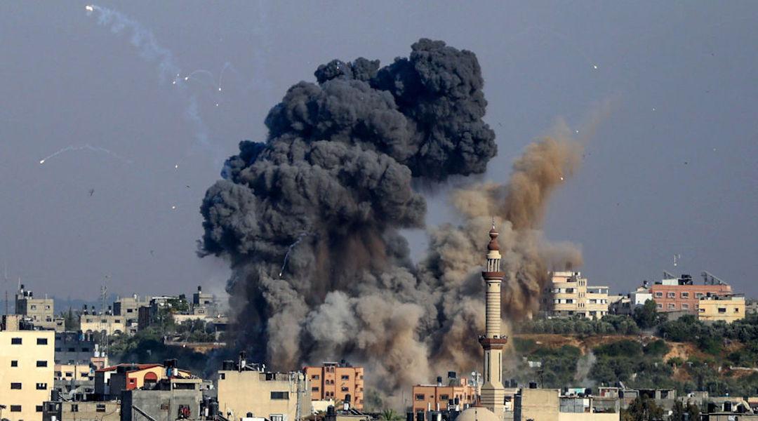Smoke billows from Israeli air strikes in Gaza City, May 11, 2021. (Photo/JTA-Anas Baba-AFP via Getty Images)