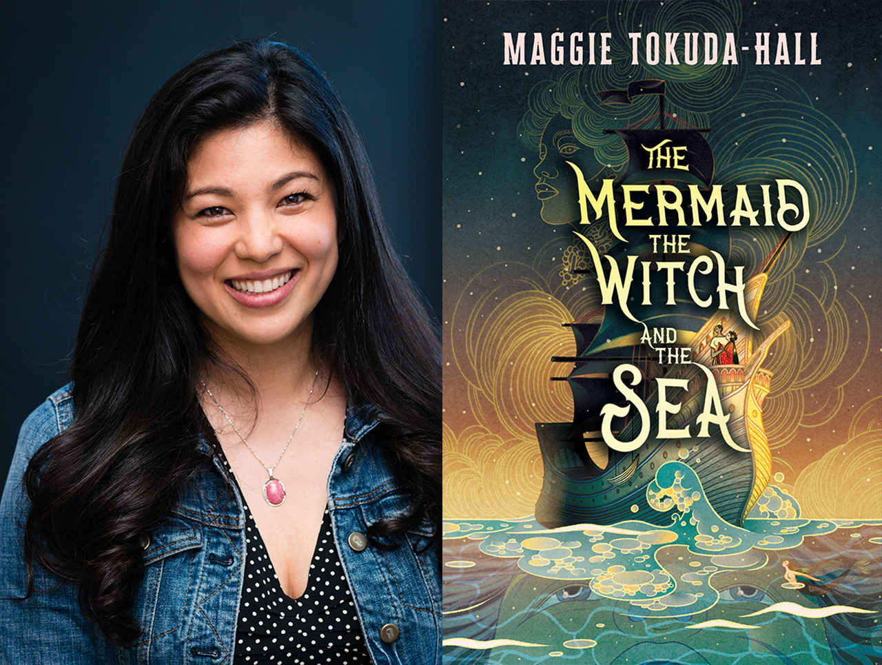 Two images. Left: Photo of a smiling woman with East Asian features in a denim jacket. Right: cover art for her novel, which featues a lavish illustration of a sailing ship on a turbulent sea.