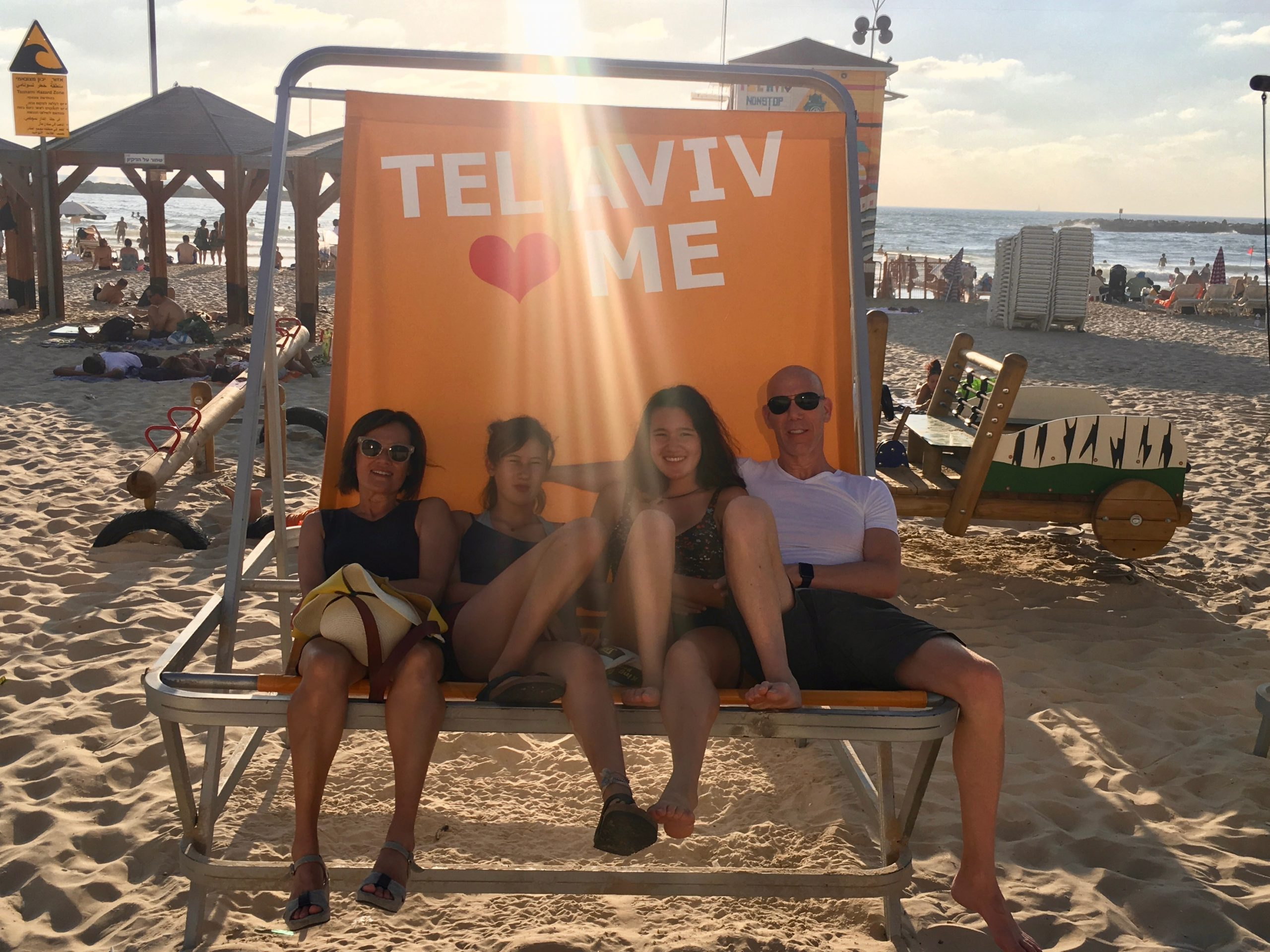 The Jaffe family, formerly of Berkeley, on the beach in Tel Aviv before the latest outbreak of violence in Israel.