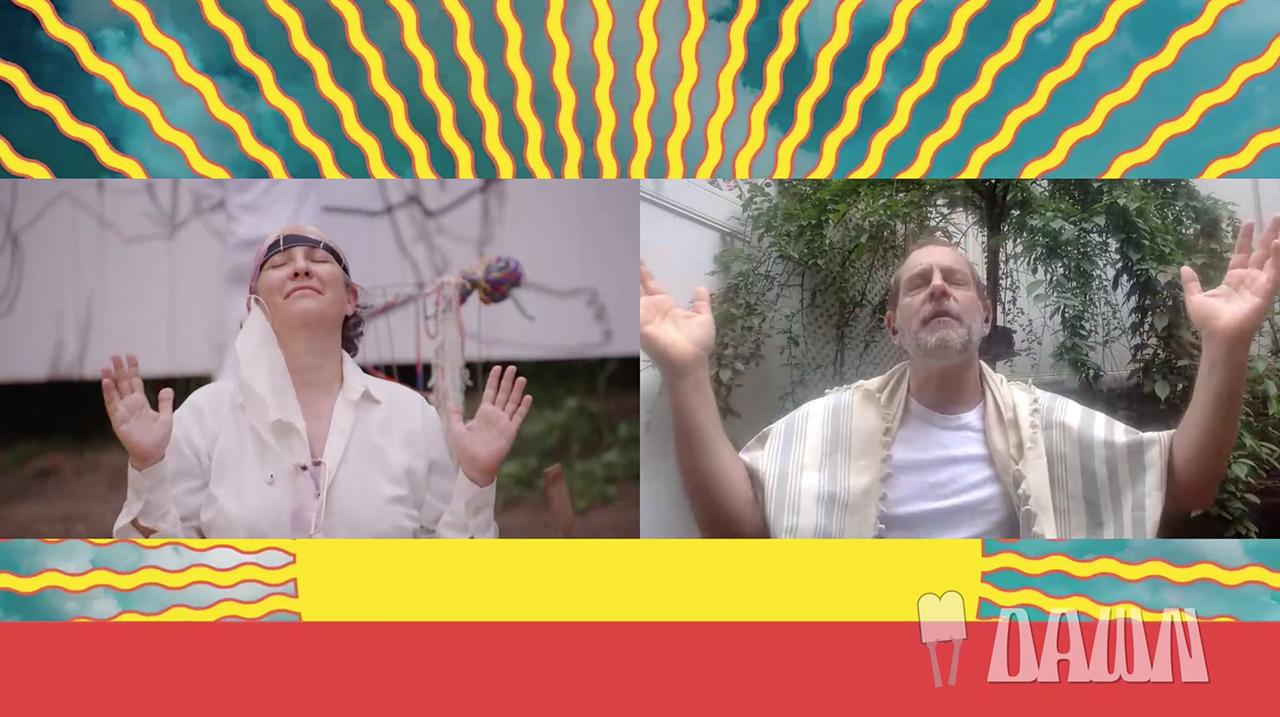 Joey Soloway and Rabbi Amichai Lau-Lavie during last year's Dawn. (Screenshot)