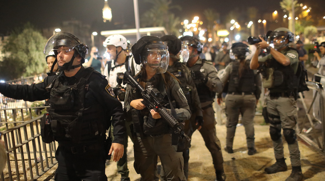 Israeli security forces deploy during a demonstration against the planned eviction process in the Sheikh Jarrah neighborhood. (Photo/JTA-Ilia Yefimovich-picture alliance via Getty Images)