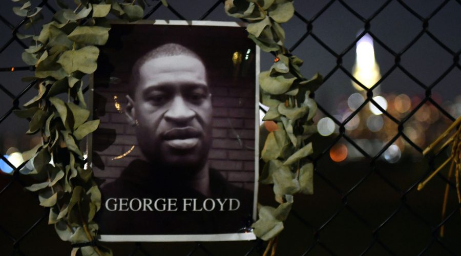 Photo of George Floyd attached to a fence