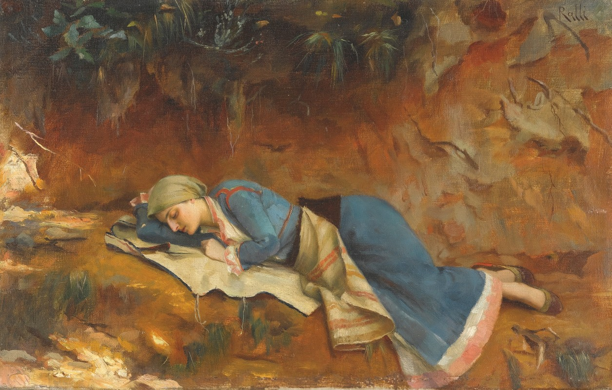 oil painting of girl in blue dress asleep on the ground