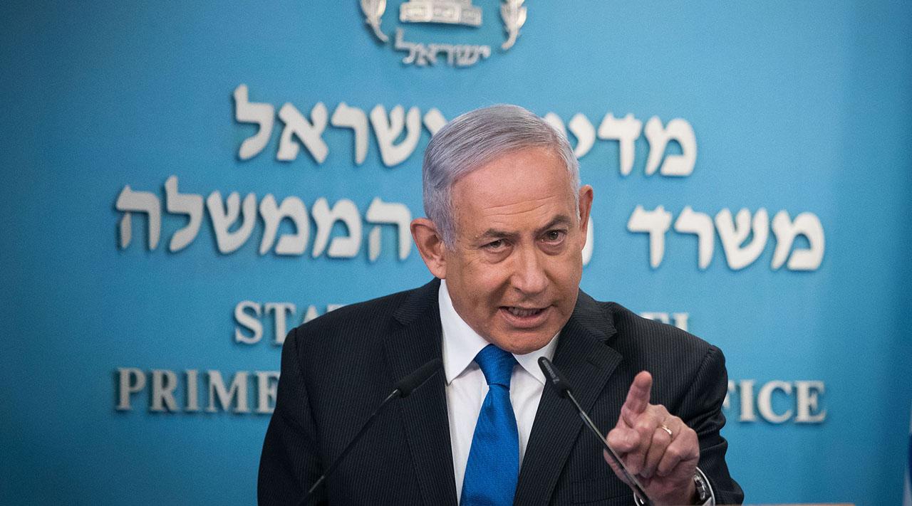 Israeli Prime Minister Benjamin Netanyahu speaks to the media in Jerusalem, Aug. 13, 2020. (Photo/JTA-Yonatan Sindel-Flash90)