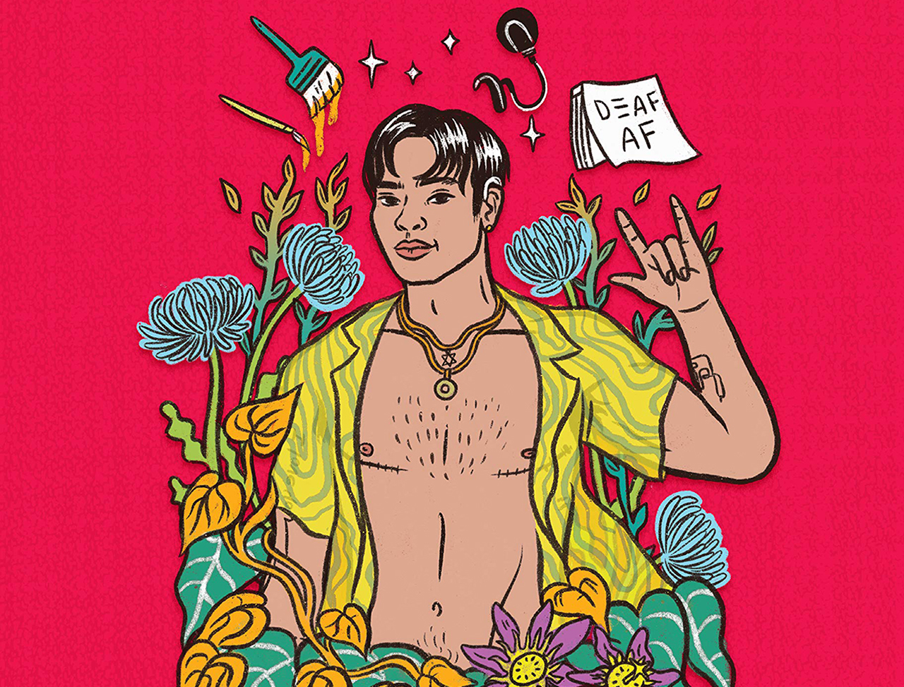 """The cover features a bright illustration of the author, a young man with Asian features, with a yellow button shirt on, unbuttoned all the way down. he is surrounded by flowers and wearing a star of david necklace. a sign floating near him reads """"Deaf AF"""""""