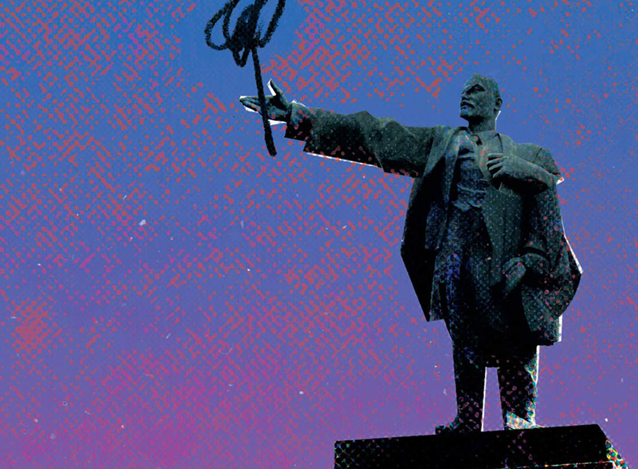 A statue of Stalin stands out on an abstract background of blue and pink.