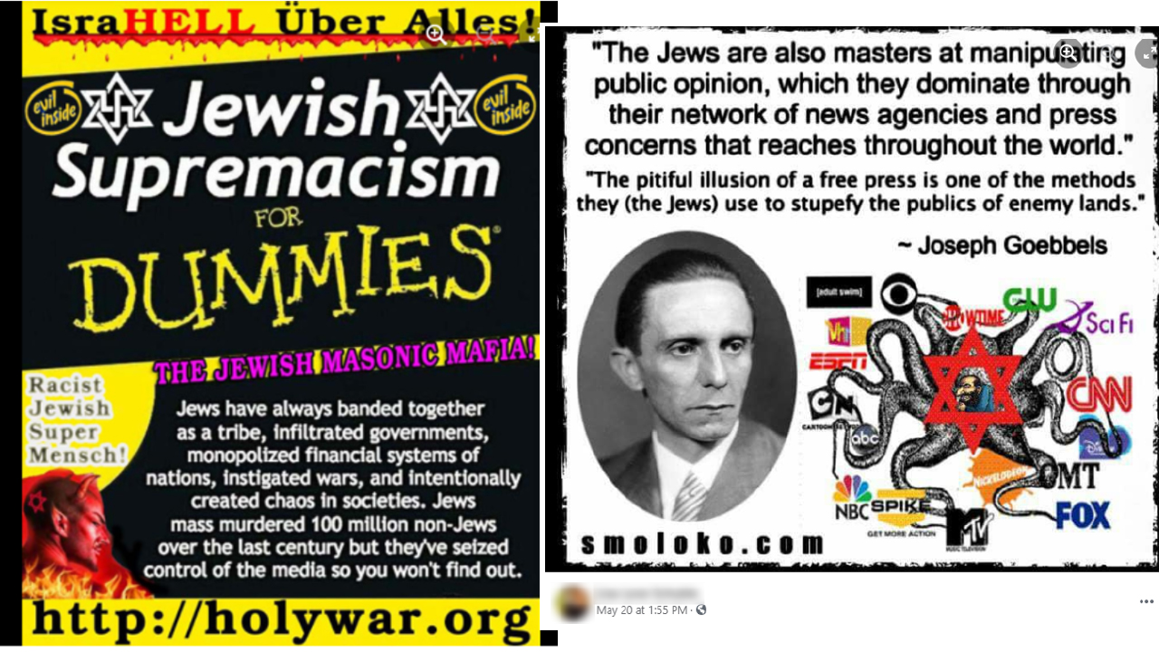 Two antisemitic memes shared on Facebook and identified by the Anti-Defamation League.