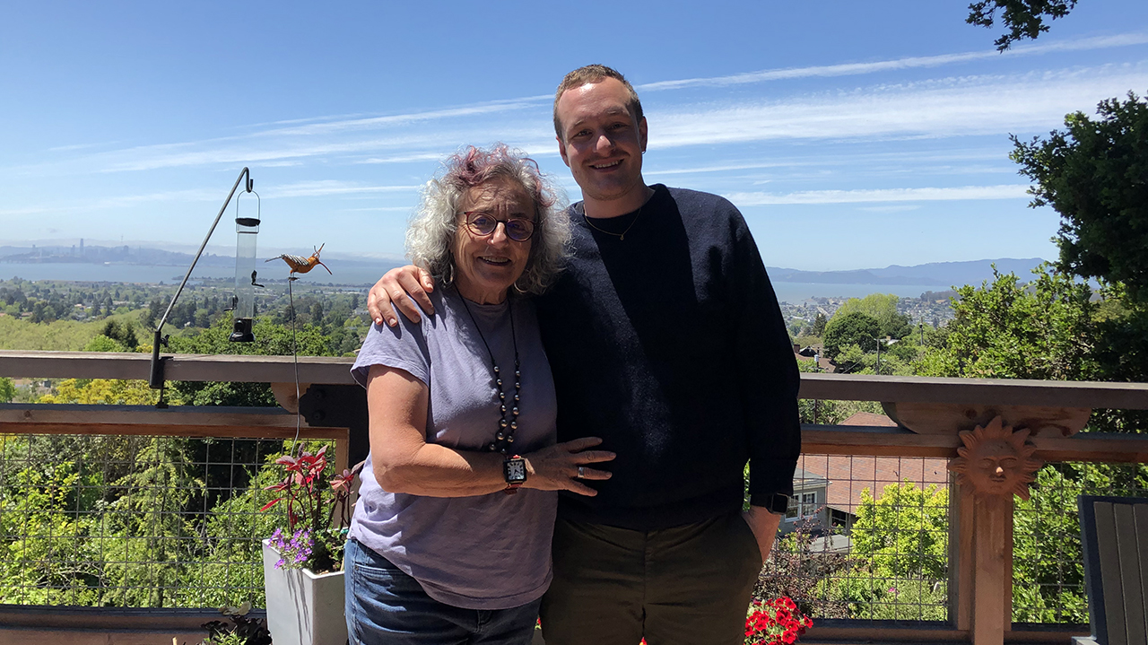 Diane Wolf and son Max Hirtz-Wolf on the deck of their home in Berkeley. (Photo/Alix Wall)