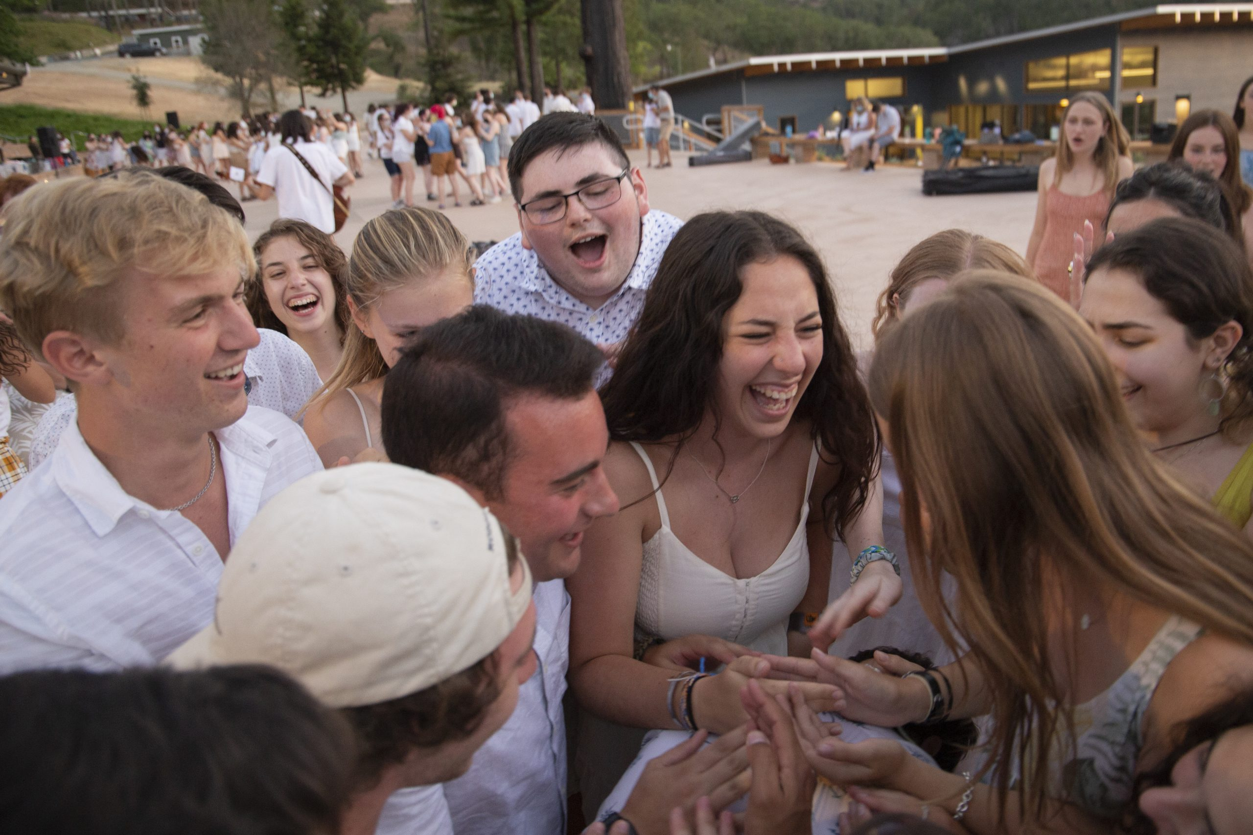 URJ Camp Newman staff dance together on Shabbat before the return of campers.