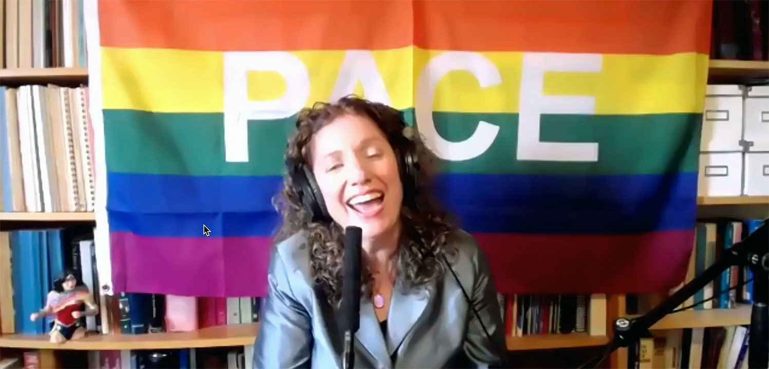 Cantor Sharon Bernstein of Congregation Sha'ar Zahav participates in the Pride Seder on June 13, 2021. (Screenshot)