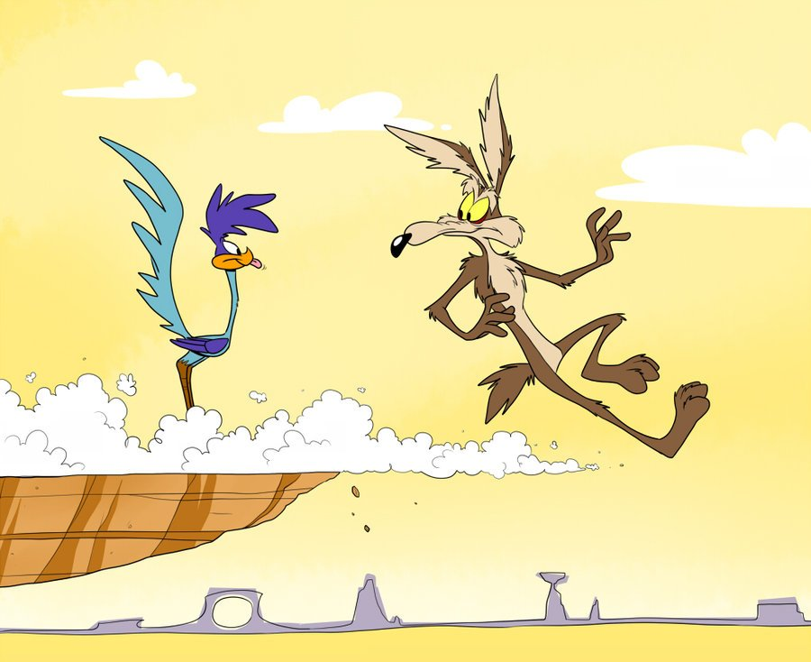 Why isn't Wile E. Coyote falling? Because he hasn't looked down yet.