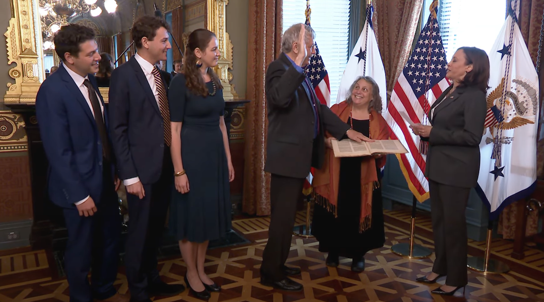 Eric Lander with his family at his swearing-in ceremony with Vice President Kamala Harris, June 2, 2021. (Screenshot/JTA-YouTube)
