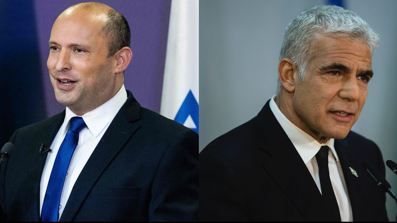 Naftali Bennett (left) will be Israel's next prime minister, to be succeeded by Yair Lapid (right). (Photos/JTA-Yonatan Sindel-AFP via Getty Images and JTA-Amir Levy-Getty Images)