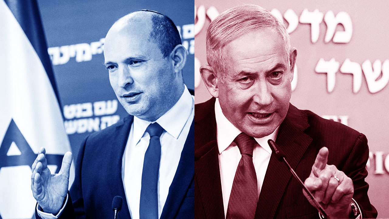 Israel's new prime minister, Naftali Bennett (left), and his recently ousted predecessor, Benjamin Netanyahu. (Photos/from file)