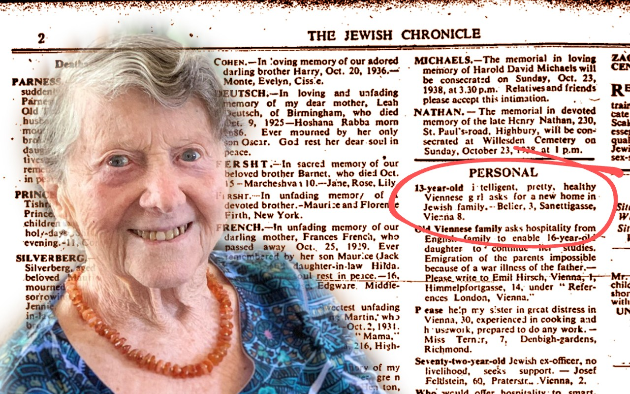 As a young girl, Lori Shearn was saved from the Nazis through a brief ad in the London Jewish Chronicle.