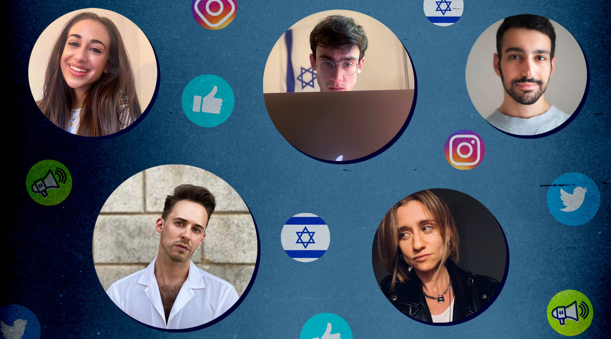 A cohort of young Jews is trying to combat antisemitism and anti-Zionism on social media. Clockwise from top left: Julia Jassey, Blake Flayton, Isaac de Castro, Eve Barlow and Ben Freeman. (Photo illustration/JTA-Grace Yagel)
