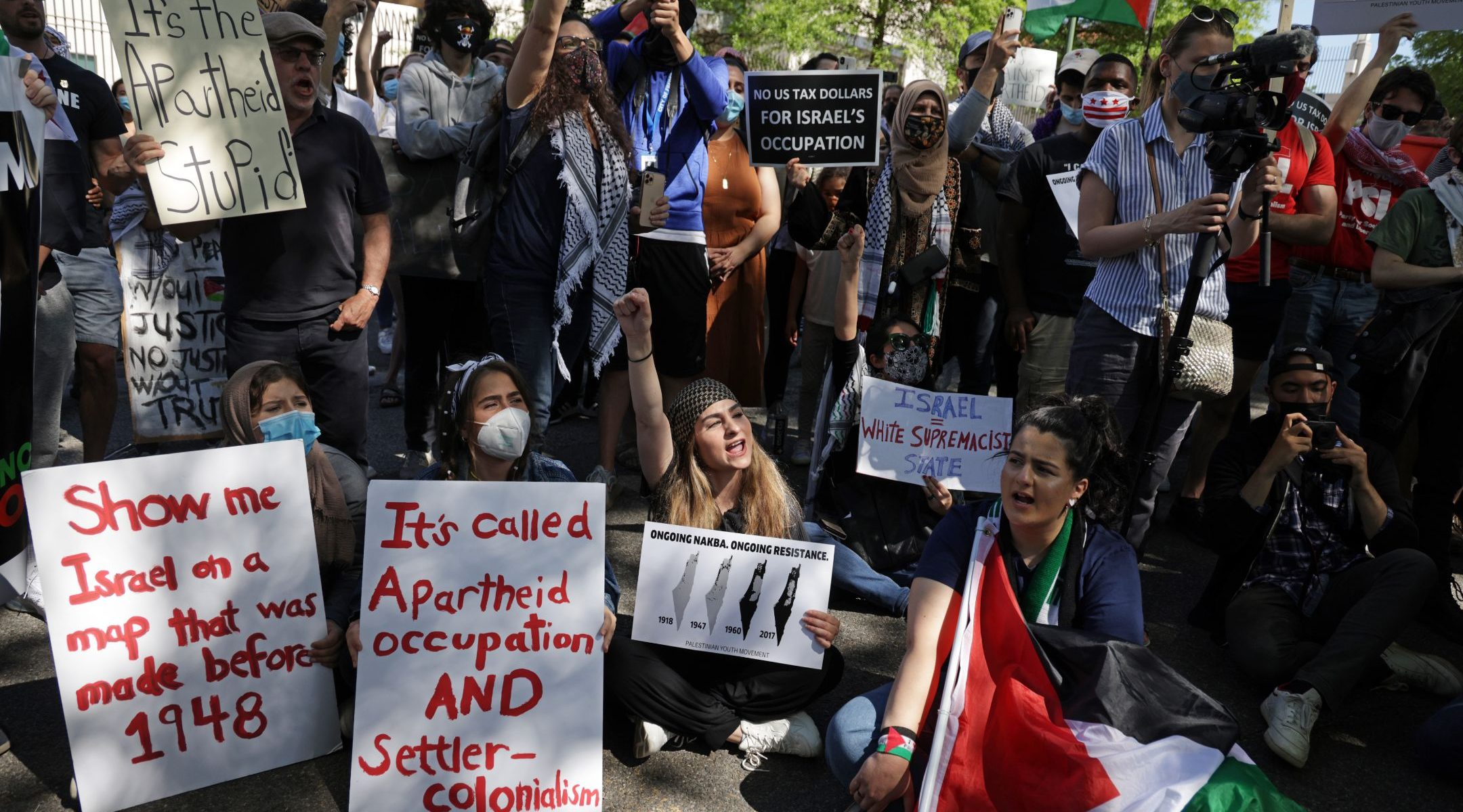 Activists protest Israel's military actions against Palestinians outside the Israeli Embassy in Washington, DC. on May 18, 2021. (Photo/JTA-Alex Wong-Getty Images)