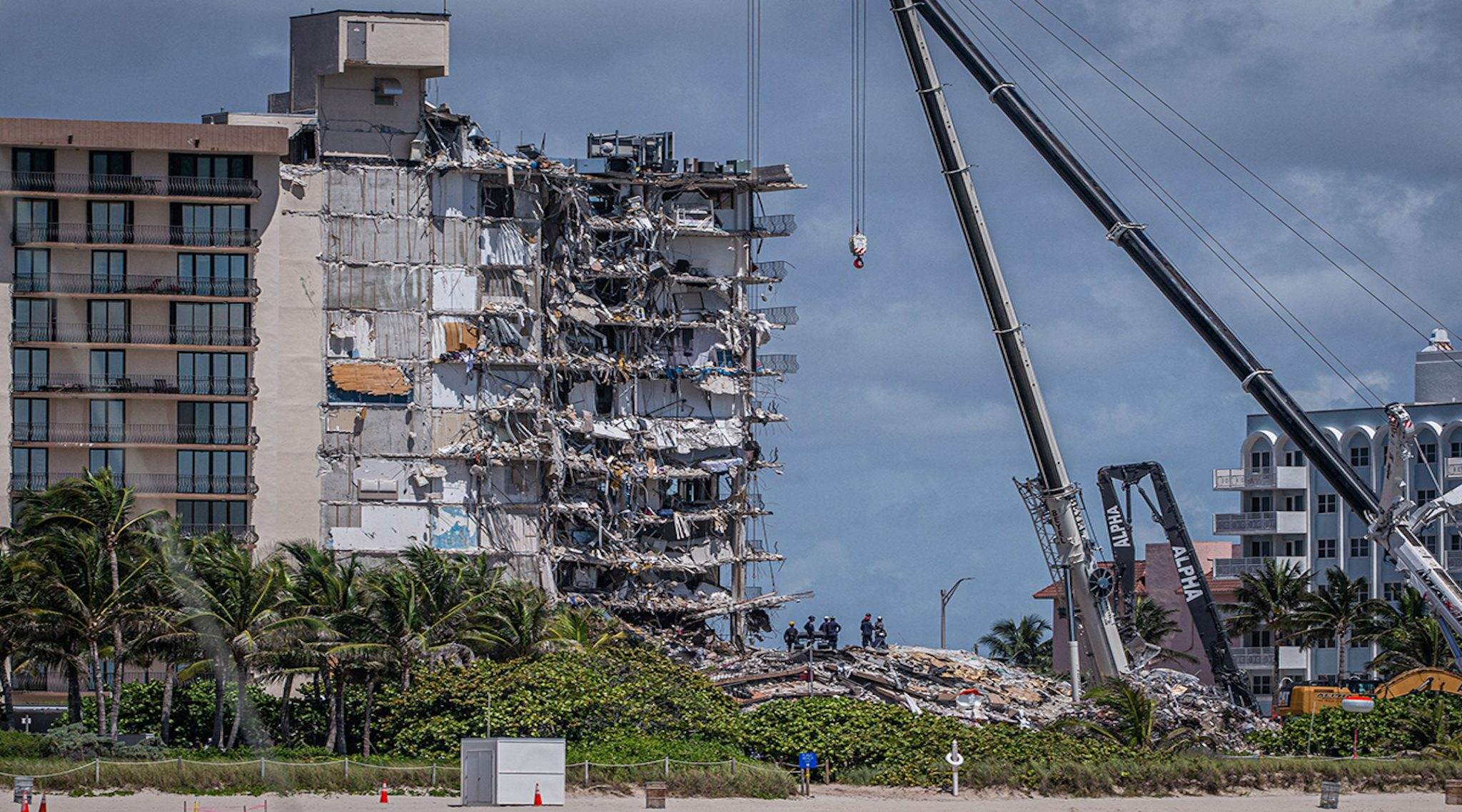 The collapsed Champlain Towers South condominium in Surfside, Florida (Photo/JTA-Giorgio Viera-AFP-Getty Images)