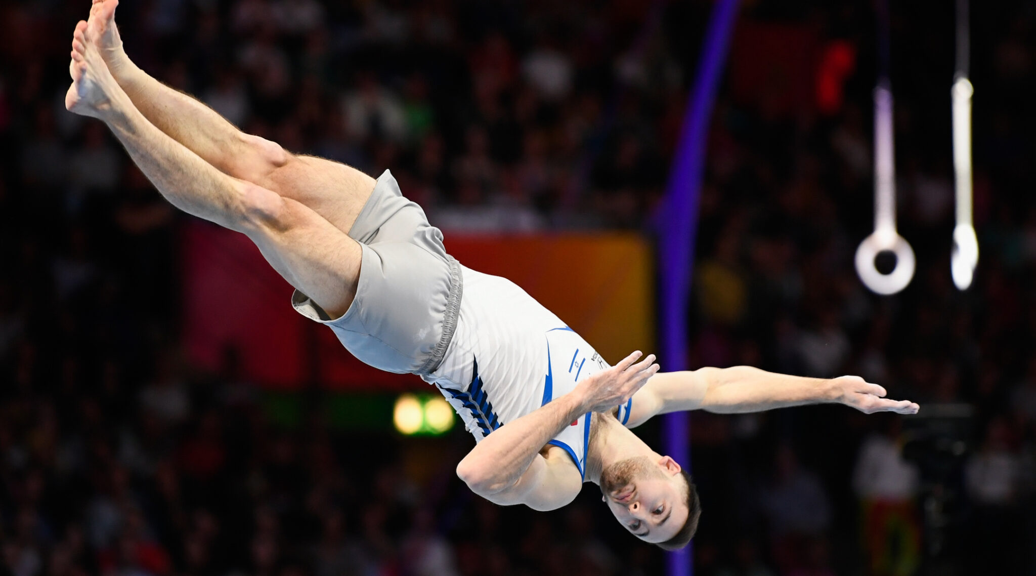 Artem Dolgopyat performs at the gymnastics World Championships in Stuttgart, Germany, Oct. 12, 2019. The Associated Press picked Dolgopyat to win a gold medal in Tokyo. (Photo/JTA-Tom Weller-picture alliance via Getty Images)