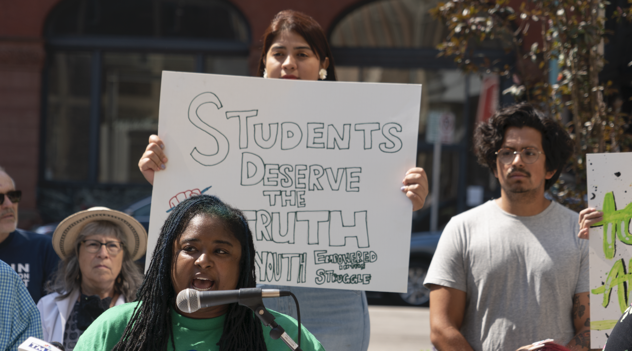 Teachers, students and school board members in the Milwaukee area hold a news conference opposing new bills seeking to bar schools from teaching ideas linked to critical race theory, June 12, 2021. (Photo/Flickr-Milwaukee Teachers' Education Association)