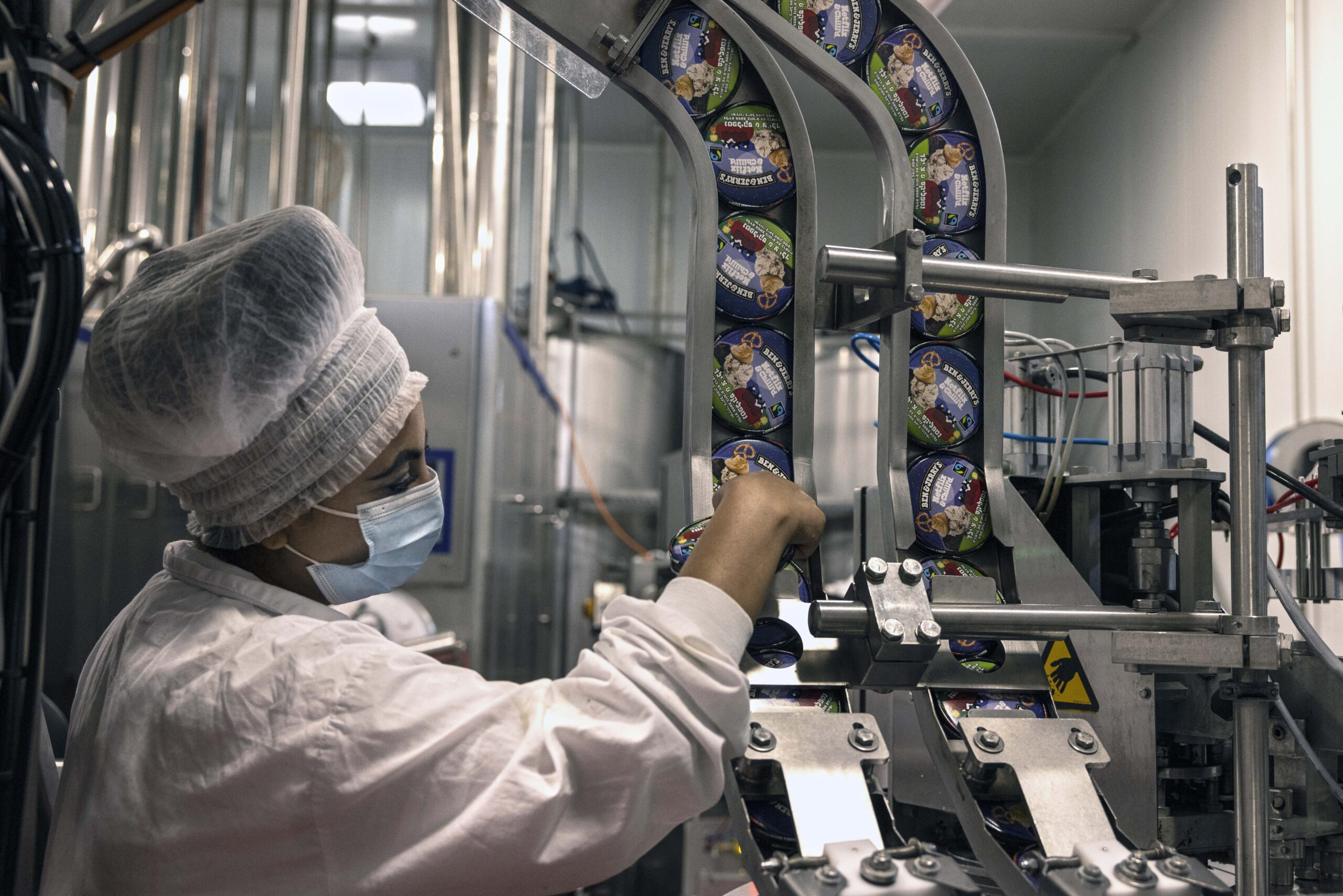 A worker at the Ben & Jerry's ice cream factory in Israel. (Photo/RNS-AP-Tsafrir Abayov)