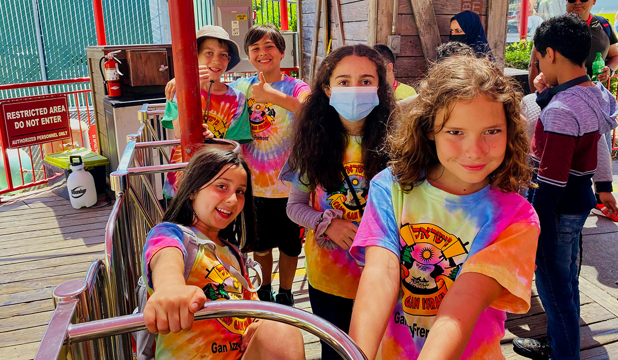 Campers from the Fremont Gan Israel day camp enjoy a day at Six Flags, July 1, 2021.