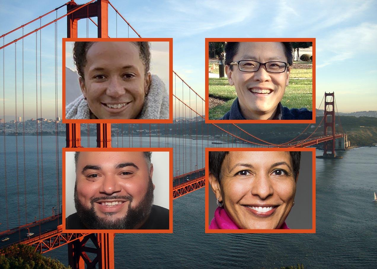 New S.F.-based Jewish Community Federation board members (clockwise from top left): Lindsey Newman, Andy Cheng, Natasha Kehimkar and Kenny Kahn.