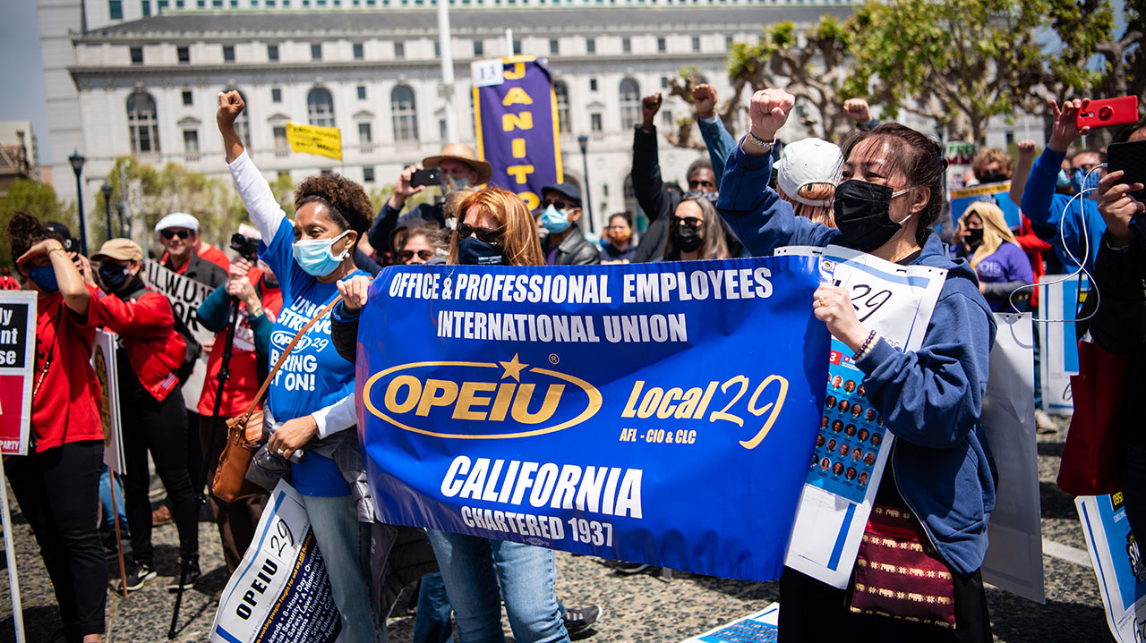 Thousands of workers represented by the San Francisco Labor Council in San Francisco for May Day, also known as International Workers Day, May 1, 2021. (Photo/Brooke Anderson)