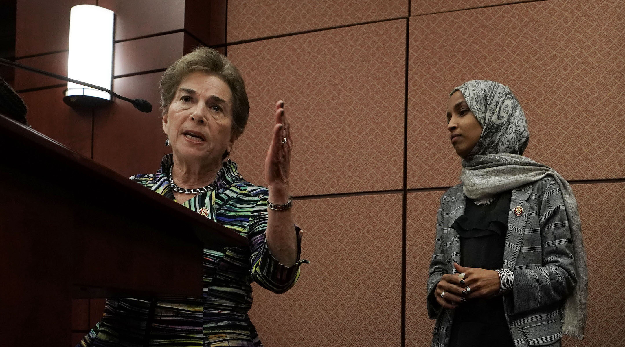 Reps. Jan Schakowsky (left) and Ilhan Omar at a news conference on Capitol Hill, Jan. 24, 2019. (Photo/JTA-Alex Wong-Getty Images)