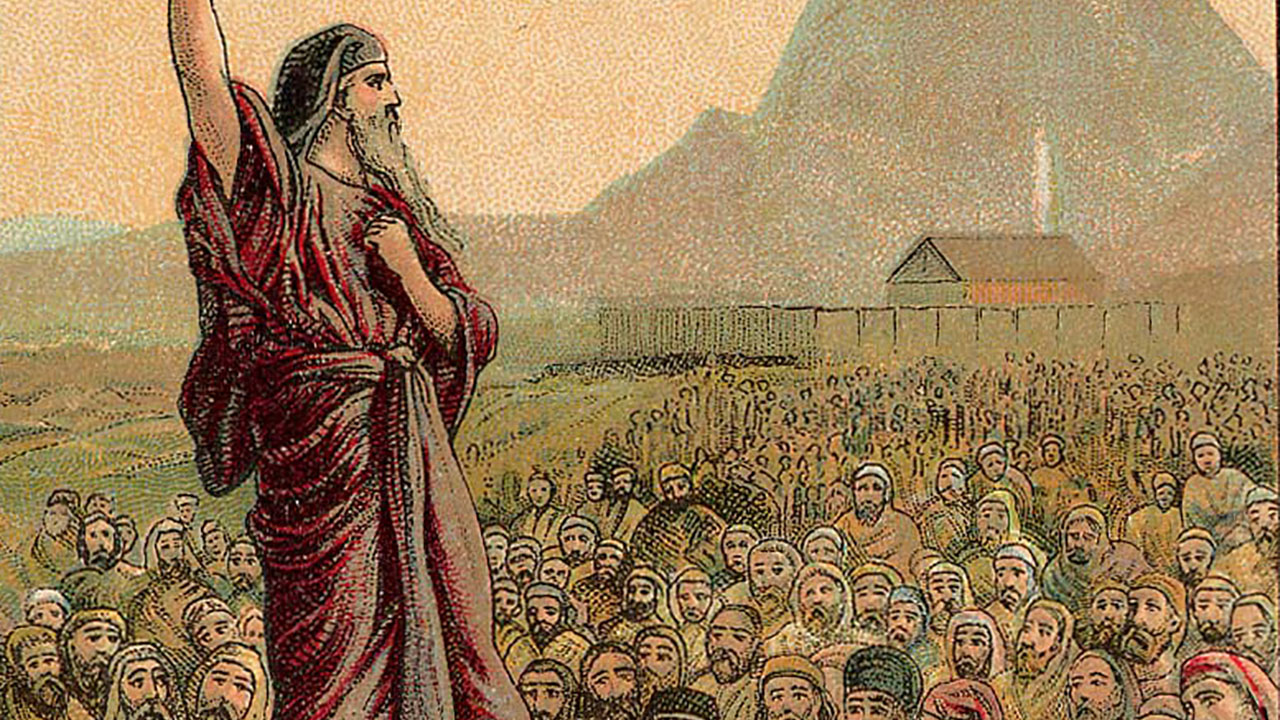 """""""Moses Pleading With Israel"""" from a 1907 postcard"""