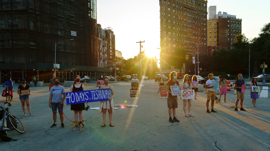 Jews gathered at Grand Army Plaza in Brooklyn every evening for the month leading up to Tisha B'Av to blow the shofar and call for justice on behalf of Black lives. (Photo/JTA-Ari Beser)