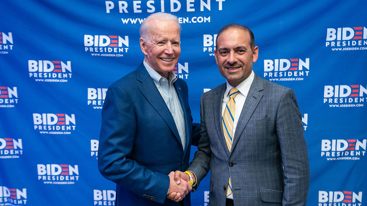 Dilawar Syed (right) with then-candidate Joe Biden during the 2020 presidential campaign. (Photo/Courtesy Biden campaign)