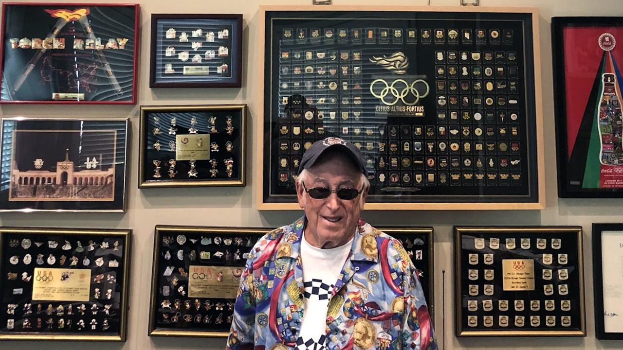 Sidney Marantz boasts a collection of over 12,000 Olympic pins. (Photo/JTA-Courtesy Marantz)