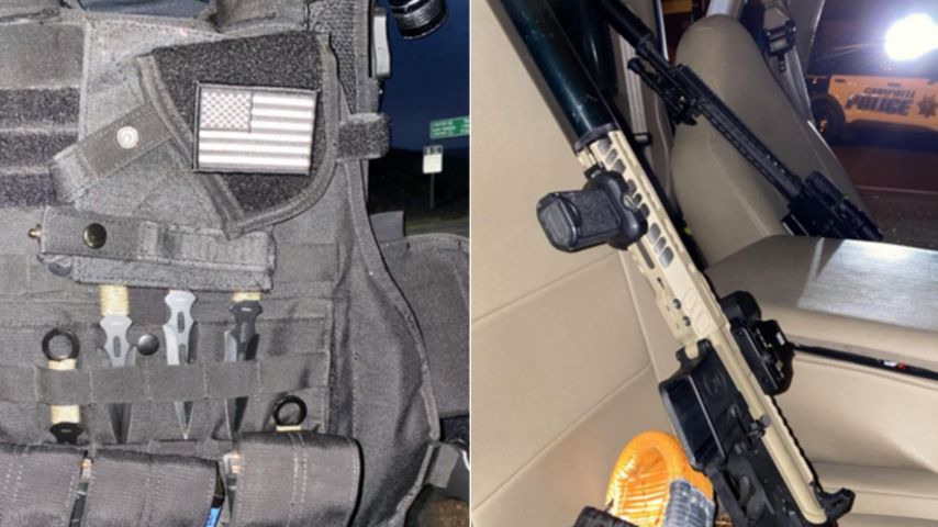 Weapons and equipment recovered by Campbell police during the arrest of Wesley Charles Martines.