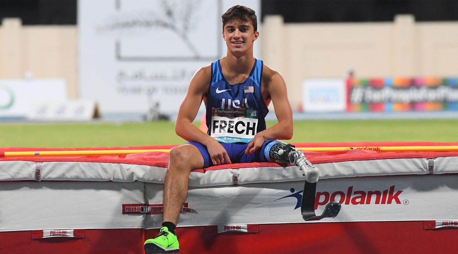 Ezra Frech competes in the men's high jump T63 final at the World Para Athletics Championships, Nov. 11, 2019. (Photo/JTA-Moto Yoshimura-Getty Images)