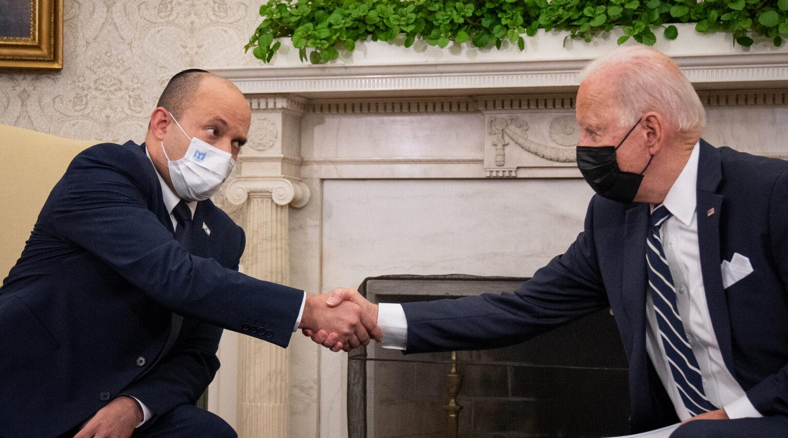 Israeli Prime Minister Naftali Bennett (left) meets President Joe Biden in the Oval Office, Aug. 27, 2021. (Photo/JTA-Sarahbeth Maney-Pool-Getty Images)