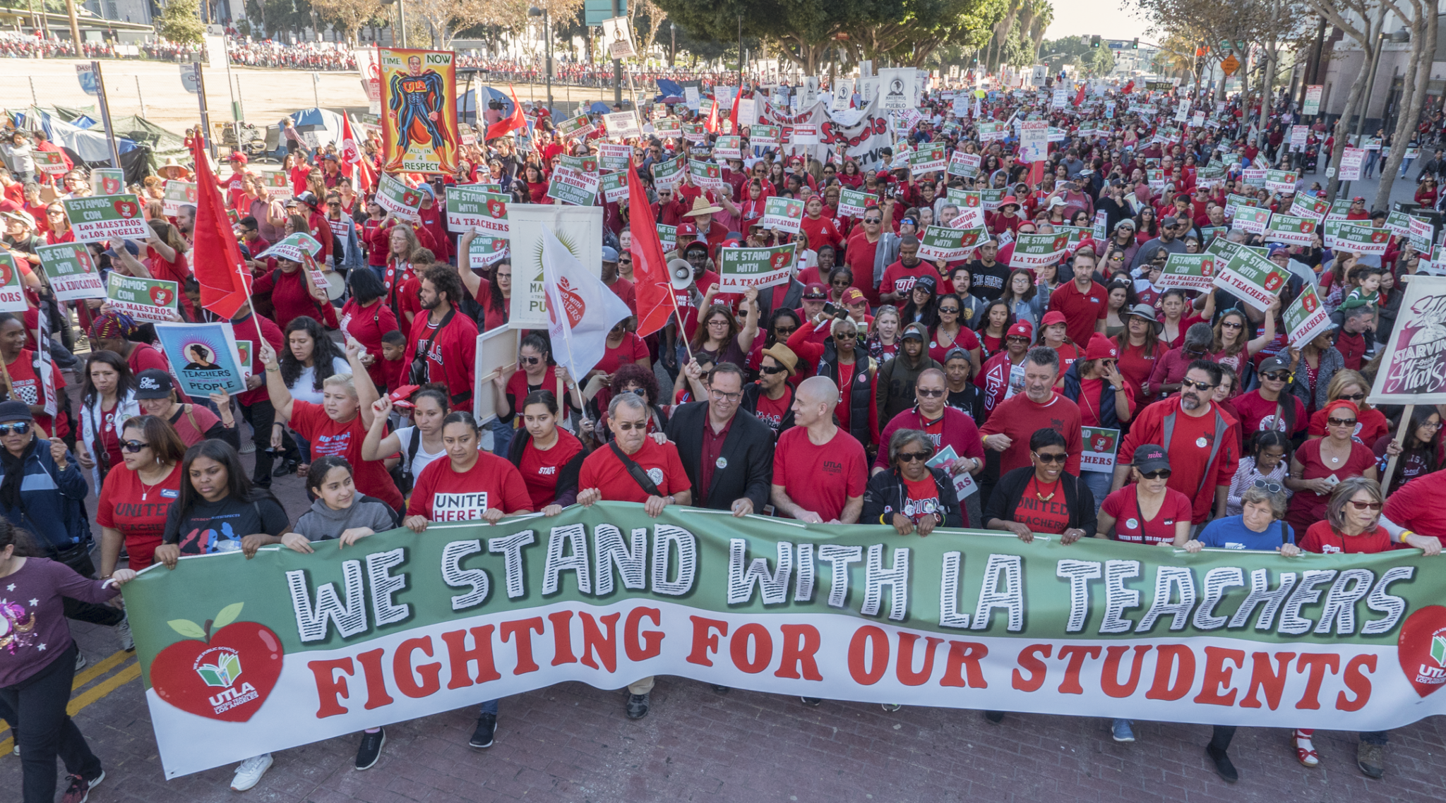 A demonstration in support of Los Angeles teachers and their union drew 50,000 supporters, March 2014. (Photo/JTA-Flickr-Milwaukee Teachers' Education Association)