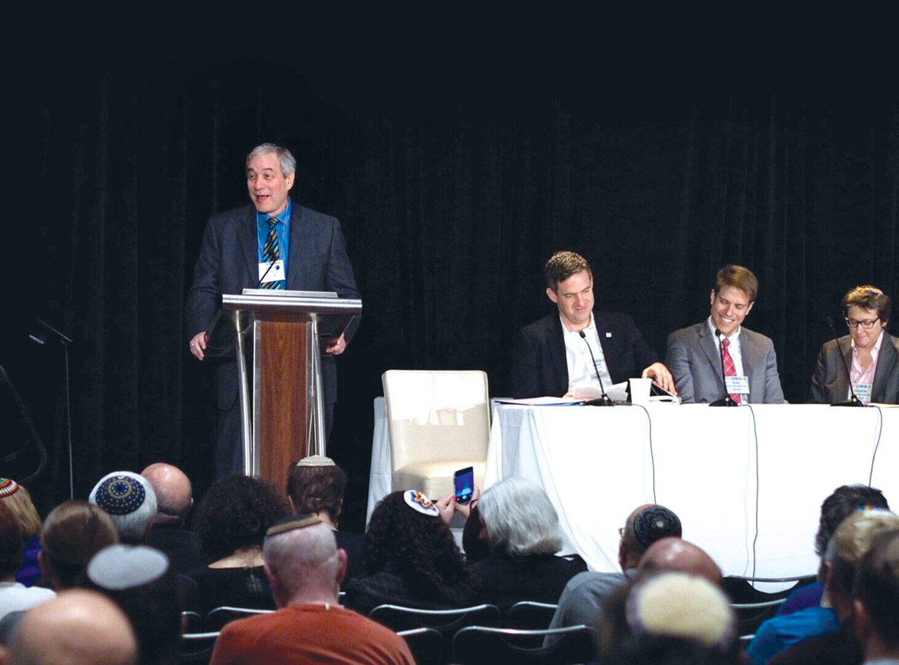 Rabbi Yoel Kahn (left) speaking on a panel at the 2015 convention of the Central Conference of American Rabbis. (Photo/File)