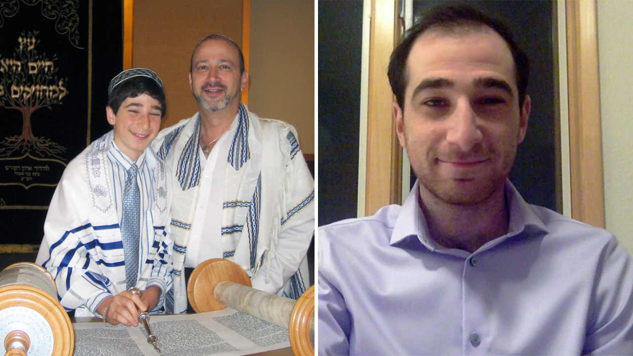 Left: Jacob Kaplan-Lipkin as a bar mitzvah with Cantor Doron Shapira at Peninsula Sinai in Congregation, 2010. Right: Years later, he's getting ready to help lead Peninsula Sinai for the High Holidays.