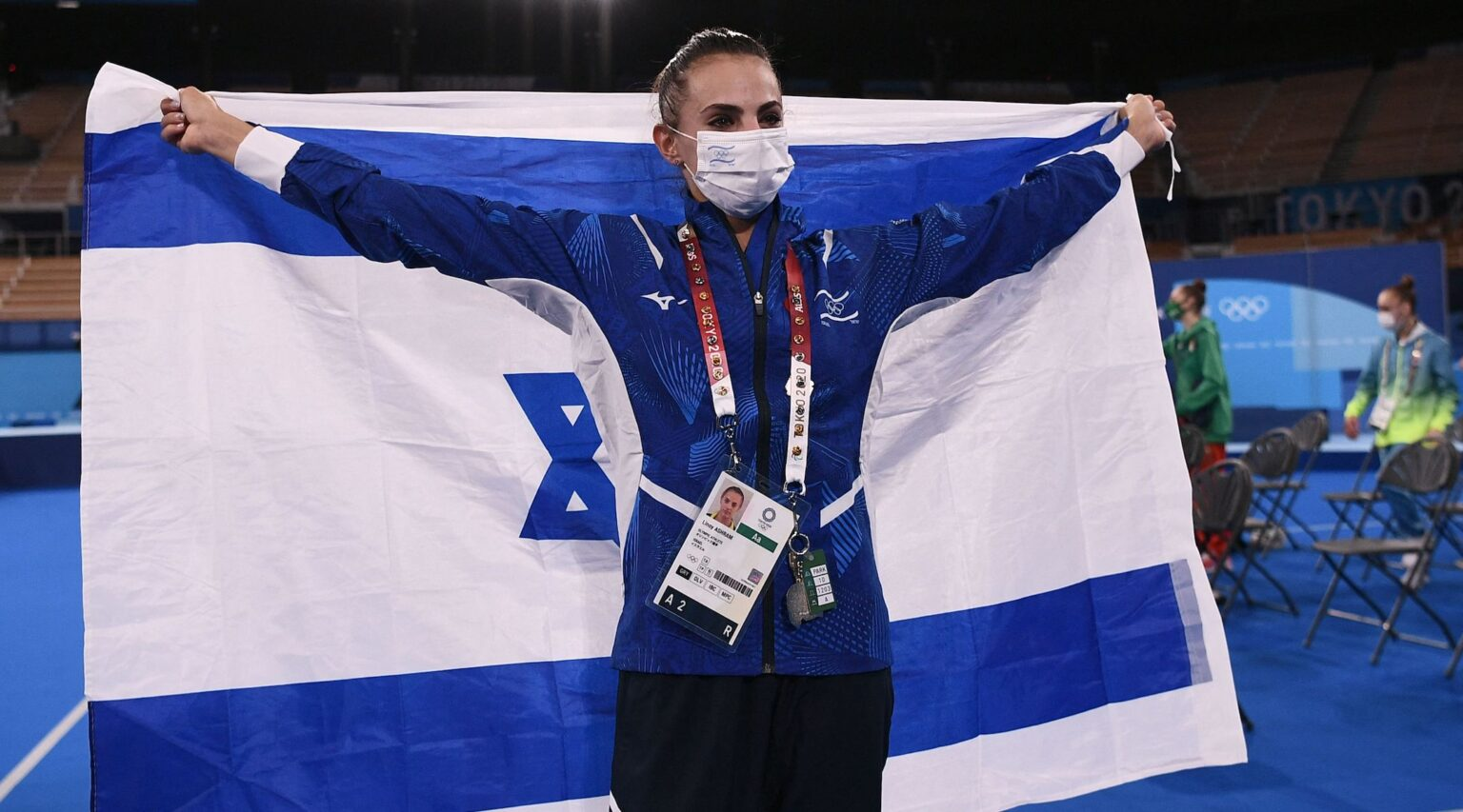 Israel's Linoy Ashram celebrates winning the individual all-around final of the Rhythmic Gymnastics event during Tokyo 2020 Olympic Games on August 7, 2021. (Photo/JTA-Lionel Bonaventure-AFP via Getty Images)