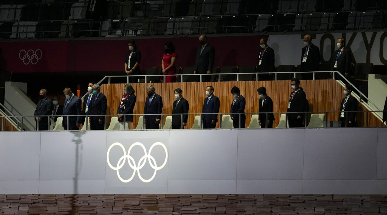 The emperor of Japan,  IOC president Thomas Bach and other delegates stand for a moment's silence during the opening ceremony of the Tokyo 2020 Olympic Games on July 23, 2021. (Photo/JTA-Martin Rickett-PA Images via Getty Images)