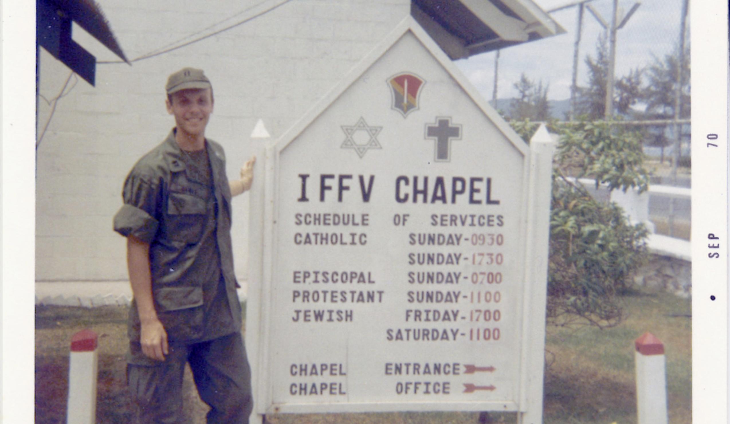 Rabbi Sheldon Lewis in uniform in Vietnam during the Vietnam War.