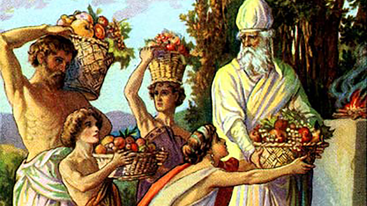 """""""Offering of the First Fruits,"""" illustration from a postcard published ca. 1900 by the Providence Lithograph Company"""