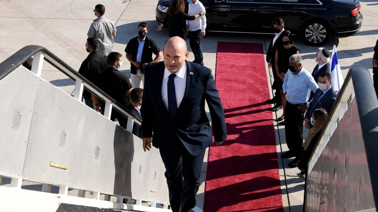 Israeli Prime Minister Naftali Bennett departs for Washington, on August 24, 2021. (Photo/Avi Ohayon-GPO)
