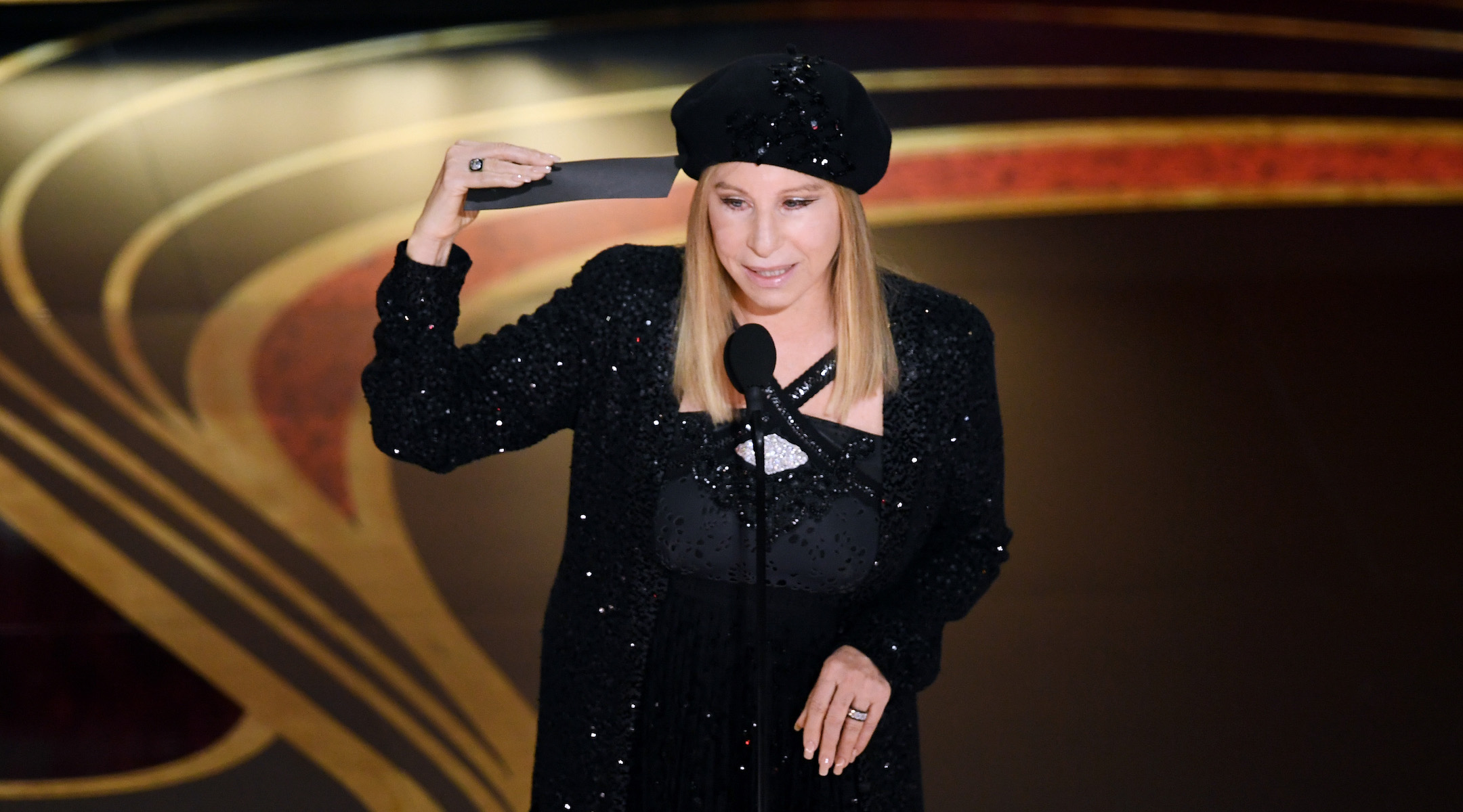 Barbra Streisand speaks onstage at the Academy Awards in Hollywood, Feb. 24, 2019. (Photo/JTA-Kevin Winter-Getty Images)