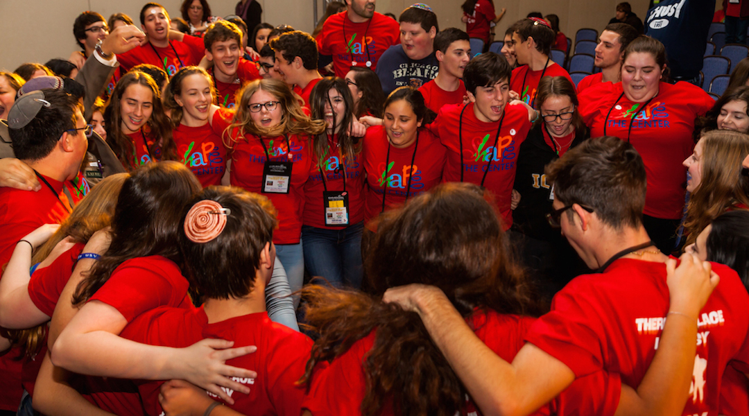 USY members celebrate at the United Synagogue of Conservative Judaism's 2015 convention. (Photo/JTA-Andrew Langdal)
