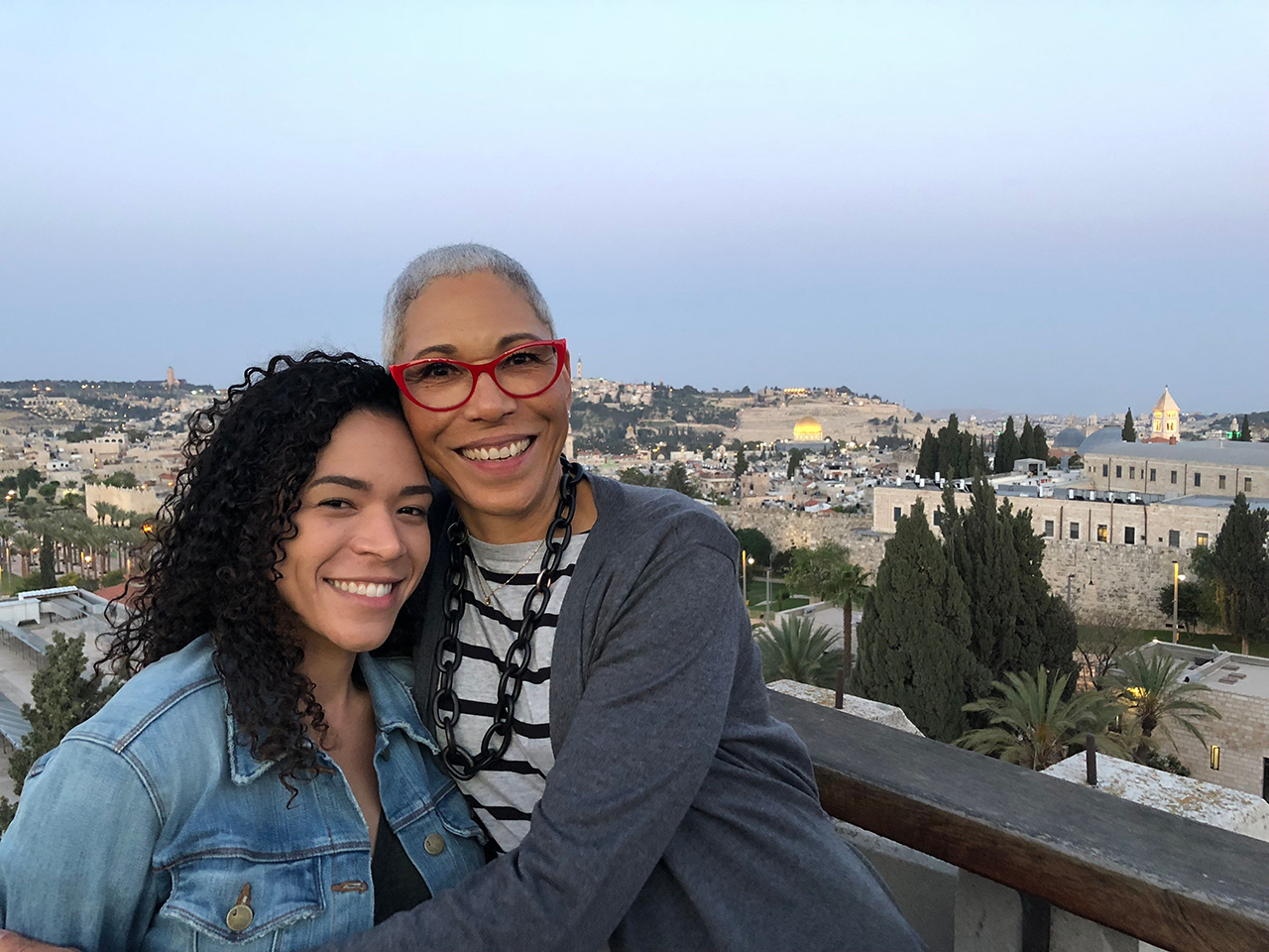 Paula Pretlow (right) with her daughter Alison in Jerusalem.