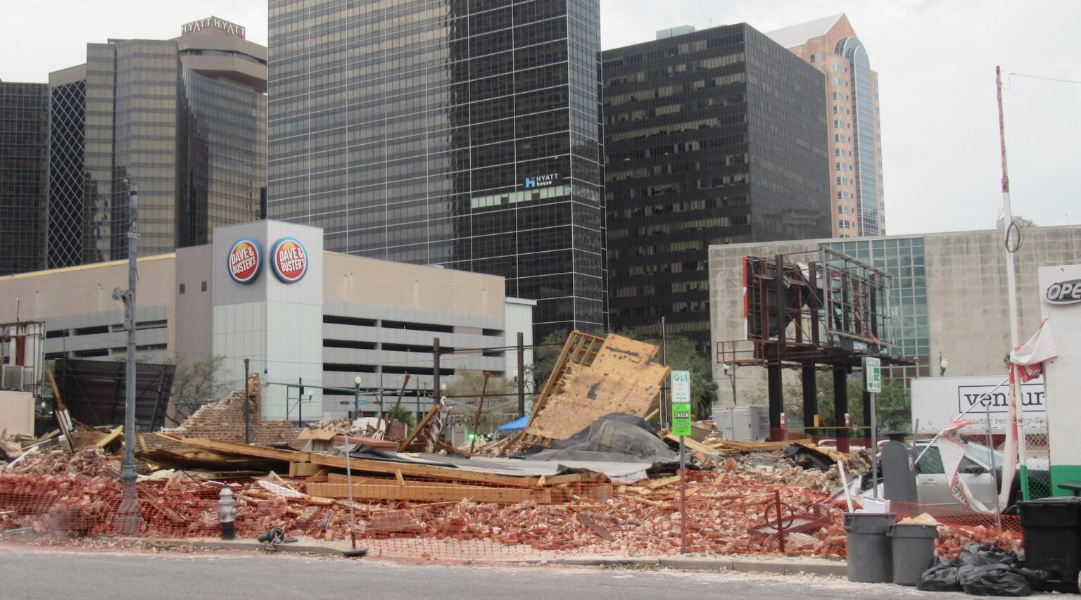 A view of the destroyed Karnofsky family building where Louis Armstrong was a regular guest in New Orleans, Louisiana on Aug. 31, 2021. (Photo/Crescent City Jewish News-Alan Smason)