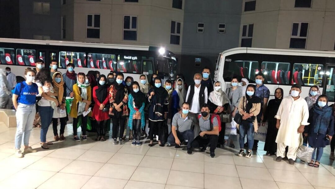Asylum seekers from Afghanistan reach Abu Dhabi, the United Arab Emirates on Sept. 6, 2021. (Photo/JTA-IsraAID)